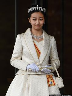 """Japan's Princess Kako attended an event at the Imperial Palace in December 2014 to celebrate her 20th birthday and her debut as an adult member of the imperial family. Emperor Akihito bestowed her with a decoration known as the Grand Cordon of the Order of the Precious Crown. Her tiara, necklace earrings, bracelet, and brooch, made by Mikimoto, are the new diamond parure given to the Princess on her 20th birthday."" (Barb Smith's description) www.diamonds.pro"