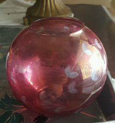 Vtg Flash Ruby Glass Cut To Clear Round Globe Vase Bowl Etched Delcate Flowers