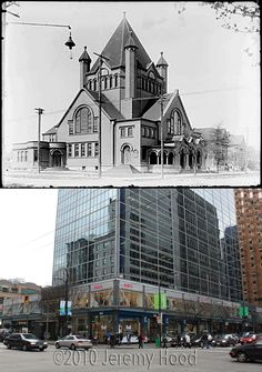 SW Corner of Georgia & Burrard - 1900's/2010.....This church is long gone, as are the surrounding houses and this is what this busy corner of downtown Vancouver looks like today.