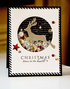 Dictionary's Creative Space: Shaker Card - Christmas lives in the heart.