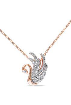 Diamond & Rose Gold Swan Pendant Necklace