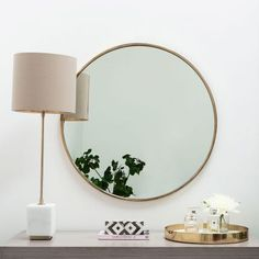 This beautiful round mirror is bang on trend thanks to its gorgeous thin golden frame. Its size makes it perfect for a hallway or bathroom, adding glamour to any room you choose to place it. Hall Mirrors, Round Mirrors, Drawer Lights, Sweetpea And Willow, Golden Mirror, Beaded Mirror, White Side Tables, House Wall, Recycled Furniture