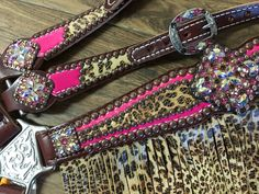 Neon Pink W/ Cheetah Overlay & Cheetah Fringe Western Saddle Pads, Horse Saddle Pads, Western Horse Saddles, Western Tack, Horse Gear, Barrel Racing Saddles, Barrel Saddle, Barrel Racing Horses, Barrel Horse