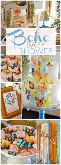Love this bohemian butterfly baby shower! See more party ideas at CatchMyParty.com!