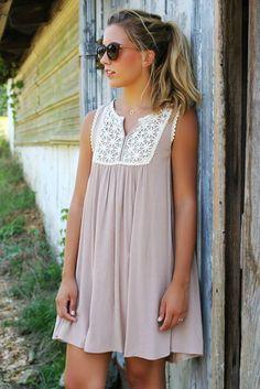 As The Sun Sets Mocha Tank Dress With Floral Crochet Bib Details