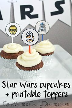Star Wars cupcakes with printable toppers | circles and rectangles for party labels, favors, decor, etc.