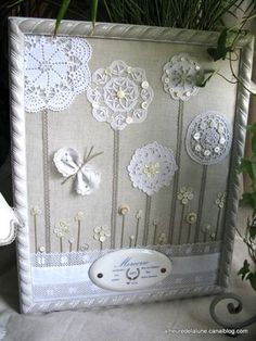Great way to repurpose dolies and vintage brooches. This would be great for a baby's room, using family/heirloom doilies. Either dye the doilies for color or use a colorful fabric backdrop? Framed Doilies, Lace Doilies, Crochet Doilies, Crochet Lace, Crochet Box, Crochet Curtains, Doilies Crafts, Fabric Crafts, Sewing Crafts