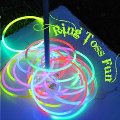Cheap And Easy Backyard Ideas That Are Borderline Genius Glow in the Dark Party {ring toss} great for camping activities. Dollar store here I come.Glow in the Dark Party {ring toss} great for camping activities. Dollar store here I come. Camping Parties, Summer Parties, Summer Fun, Summer Nights, Teen Parties, Summer Ideas, Summer Party Games, Camping Party Games, Campfire Games