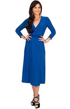 59f4059eb041e KOH KOH Plus Size Womens 3 4 Sleeve V-Neck Wrap Knee Length Semi