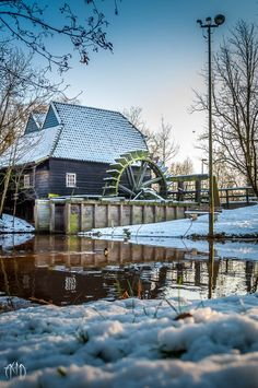 Water wheel in Eindhoven, The Netherlands. Eindhoven Netherlands, Holland Netherlands, Old Windmills, Great Place To Work, Water Mill, Le Moulin, Covered Bridges, Winter Scenes, Luxury Travel