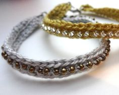 Crochet Seed Bead Bracelet: free Tutorial. I want to do this with the leftovers of my next sweater (or sock) project so I can have a matching bracelet :-)