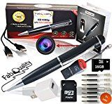 #8: Premium Full 1080p HD Hidden Camera Spy Pen BUNDLE 16GB SD Micro Card  USB card Reader  7 INK FILLS  updated battery  USB Plug! - Record Executive Multifunction DVR. Perfect Gift - Easy to Use http://ift.tt/2cmJ2tB https://youtu.be/3A2NV6jAuzc