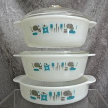"Fire-King ""Blue Heaven"" Ovenware Set - unmarked but guaranteed to be original, vintage Anchor Hocking"