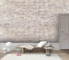 3D Realistic, Light colored, Stone brick texture Wallpaper, Removable Self Adhesive Wallpaper, Wall Mural,Vintage art,Peel and Stick
