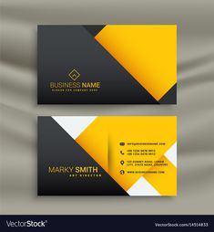 Minimal yellow and black business card design vector image on VectorStock Free Business Card Design, Business Cards Layout, Professional Business Card Design, Minimal Business Card, Black Business Card, Free Business Cards, Modern Business Cards, Business Card Logo, High Quality Business Cards
