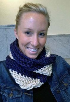 Blue and Beige Infinity mobius Scarf  Ready To Ship by Jessmiloo, $30.00