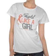 Fight Like A Girl Uterine Cancer Awareness T Shirt
