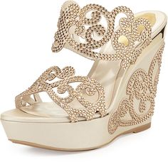 Rene Caovilla Crystal Scroll Double-Band Wedge Sandal, Light Gold