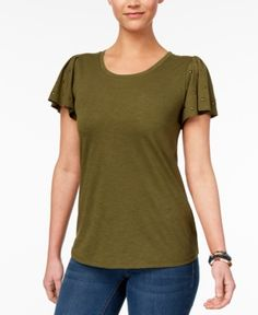 Style & Co Studded Flutter-Sleeve T-Shirt, Created for Macy's - Green XXL