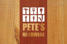 Hardware Store Logo Template - This hardware store logo shows a modern, but classic, representation of what you would expect from a hardware store; home and garden tools, wood, and strong type combine on top of a natural plywood background to entice handymen from all over!