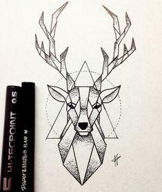 Bild von Hirsch und Zeichnung Imagen de deer and drawing - Monde Des Animaux Dotted Drawings, Art Drawings Sketches Simple, Pencil Art Drawings, Easy Drawings, Animal Drawings, Drawing Ideas, Badass Drawings, Geometric Drawing, Geometric Art