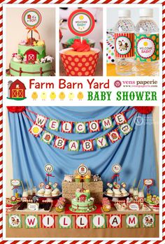 Farm Barn Yard Baby Shower Package Personalized FULL Collection Set - PRINTABLE DIY - BS809CA1x on Etsy, $35.00