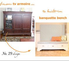 From Tv Armoire to Built in Kitchen Banquette!