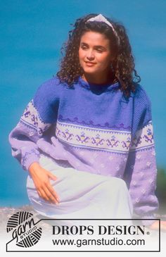 "DROPS 20-1 - DROPS jumper with pattern borders in ""Alaska"". Ladies and men's sizes S – L. - Free pattern by DROPS Design"