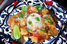 Menu Musings of a Modern American Mom: Video Recipe for Thai Chicken with Peanut Curry Sauce and Coconut Rice
