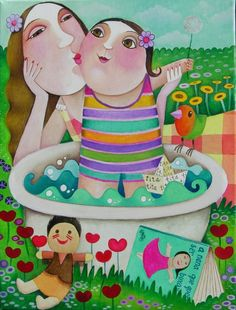 Pinzellades al món Mother Pictures, Puzzle Art, Happy Art, Naive Art, Pretty Art, Mothers Love, Beach Art, Woman Painting, Mother And Child