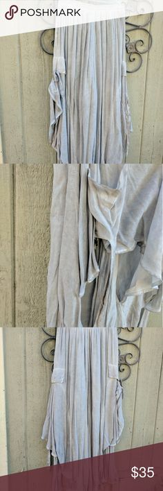 Wide leg maxi style gathers ties bustles flowy This is a gorgeous pair of pants that I picked up at a boutique.  Lots of super soft fabric with ties on the side for customization.  They are a light grey color with a subtle distressed look. Antique inspired, vintage, victorian.  Magnolia Pearl feel to them. boutique Pants Wide Leg