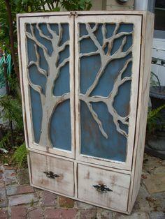 Rustic Furniture Shelf  Oak Tree Cabinet  by honeystreasures
