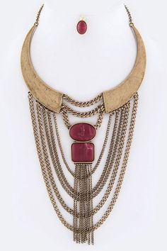 "Rebdolls ""Idol"" Retro Lux Layer Chains Iconic Collar Necklace Set - Burgundy"