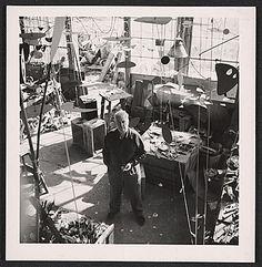 Citation: Alexander Calder in his studio, ca. 1950 / unidentified photographer. Alexander Calder papers, Archives of American Art, Smithsonian Institution.