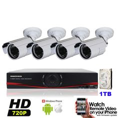 255.00$  Watch now - http://alij5t.worldwells.pw/go.php?t=32628982209 - Security AHD Camera Full HD 720P Surveillance CCTV System 4CH 960H DVR IR Cameras System IR Cut Filter 4CH DVR Kit with 1TB HDD
