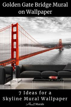 This skyline mural celebrates the iconic San Francisco landscape. The black and white photo mural adds a modern glam look and is even more stunning with the famous suspension bridge juxtaposed in a vivid, powerful red colour. Printed on removable wallpaper, it's perfect for a Golden Gate Bridge Bedroom. Click to see all 7 cityscape murals perfect for wallpaper diy. City themed bedroom ideas for adults and teens. Cityscape Wallpaper, Diy Wallpaper, Bedroom Themes, Bedroom Ideas, Photo Mural, San Francisco City, Red Colour, Suspension Bridge, Golden Gate Bridge