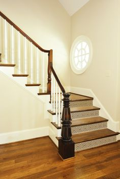 greek key stair decal accents