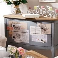 Decoupage touches look fabulous on French gray background... Easy to recreate on pre loved finds …..