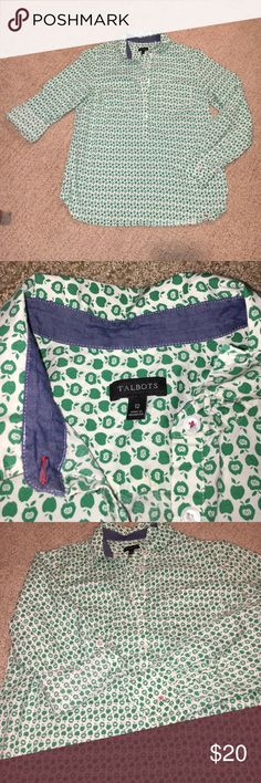 Talbots Green apple print blouse size 12 This Blouse is so cute! The apples! It's going to be missed! There is one button that will need replacing if you plan to wear it long sleeve, but I always wore this shirt with the sleeves rolled up so it never bothered me! Talbots Tops Blouses