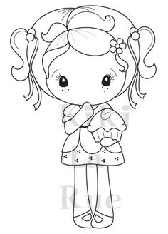 """CC Designs Kiki La Rue *RETIRED* """"Cupcake Kiki"""" Rubber Stamp Red Rubber Stamp comes pre-trimmed, mounted to cling cushion and ready to use with an acrylic block. Coloring Pages For Girls, Cute Coloring Pages, Coloring Books, Kiki La Rue, Doll Quilt, Digi Stamps, Copics, Cute Illustration, Doll Patterns"""
