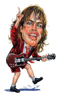 Angus Young of AC/DC. 🌻 For more great pins go to Angus Young, Funny Caricatures, Celebrity Caricatures, Celebrity Drawings, Heavy Metal, Cartoon Faces, Funny Faces, Hard Rock, Bon Scott