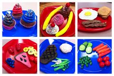 4th grade food sculpture lesson - tied this art making lesson in with health/phys ed by learning about the food pyramid as well and how to make healthy food choices. If doing with older grade levels, you could relate it to POP art. Really easy -use model magic and acrylic paint....kids LOVE this!!!