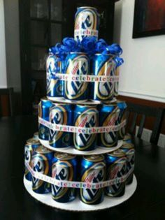 I'm going ot have to see if I can find Packers ribbon...the bow should be easy enough. Beer can cake