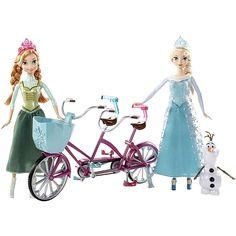 Frozen - Elsa e Anna com Bicicleta, um set que inclui 1 bicicleta tandem, 1 boneca da Elsa, 1 boneca da Anna e 1 boneco do Olaf. Com esta bicicleta com dois lugares e cesto, a Elsa e a Anna podem passear juntas e podem também levar o Olaf. As bonecas podem pedalar realmente. Idade recomendada: +3 anos.
