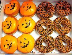 "Pumpkin Donuts donuts saying ""Happy Halloween Halloween Inspo, Halloween Season, Halloween 2020, Holidays Halloween, Happy Halloween, Halloween Party, Halloween Rocks, Halloween Baking, Couple Halloween Costumes"