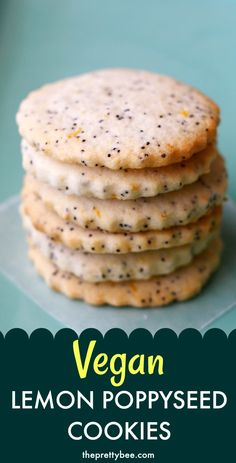 These lemon poppyseed cookies are perfect with a cup of tea. This is an easy vegan cookie recipe that you will love! #vegan #cookies #lemon