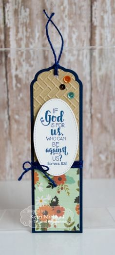 Taylored Expressions - Spiritual Bookmark by Kerri Michaud* If God is for us, who can be against us? #bookmark #reading #crafts #papercrafts #DIY #handmade #diecutting #stamping
