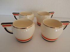 Rare Made In Japan Art Deco Art Moderne Set 4 Cups 1921-1946 Vintage Gold Trim  #MadeInJapan