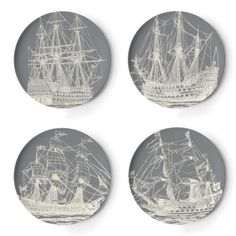 Maritime Dinner Plates Set Of 4 (£12) ❤ liked on Polyvore featuring home, kitchen & dining, dinnerware, melamine dinnerware, thomaspaul and melamine dinner plates