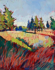 Oregon pines near Tillamook, vibrant expressive oil painting by Erin Hanson